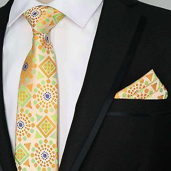 Kirkkaan oranssi sininen keltainen & vihreä tasku neliön & tie