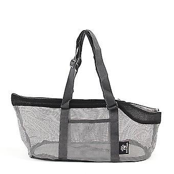 Musta kannettava verkko lemmikki laukku hengittävä ulkona lemmikkieläinten kantajat käsilaukku suuri kapasiteetti taitettava kissa laukku cai1205