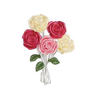 Eternal Collection Beautiful Roses Bouquet Multi Coloured Enamel Flower Brooch