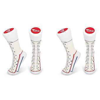 2x Tobar Silly Sneaker Trainer / Joke Style Strumpor Storlek 5-11, SNEAKER STRUMPOR VIT