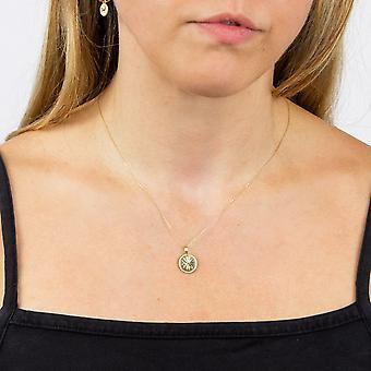 Elementer Guld Dame 9ct Gul Guld Wellness Symbol Floral Runde Disc Vedhæng Halskæde Længde 41-46cm