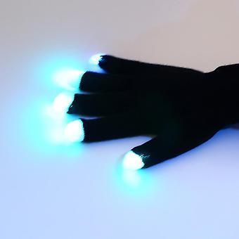7 läge Led Gloves Glove Rave Light Blinkande Finger Lighting Glow Mittens Magic