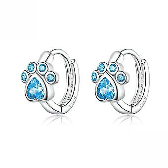 Ear Stubs Cat's Footprints Blue S925 Platinum Plated Earrings For Party
