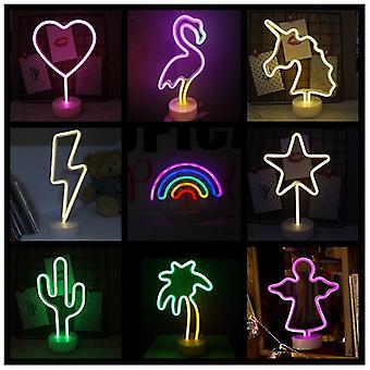 Neon tecken USB LED dekoration Enhörning Flamingo Lamp Moon Rainbow För Home Kid Room Sängkant Natt