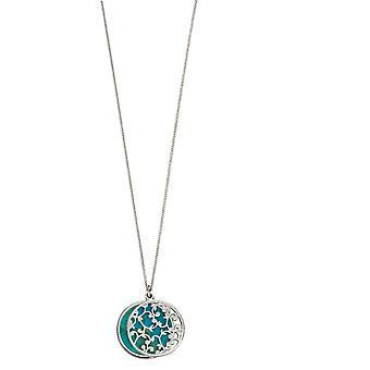 Elementen Zilveren Vrouwen Turquoise Hangketting met lengte 46cm P4667T