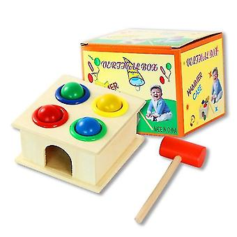 Kids Edational toys Hammer And 4-ball Wooden Play Set, Wooden Hammer Balls Pounding Toy