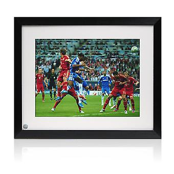 Didier Drogba Signed Chelsea Photo: Champions League Header. Framed