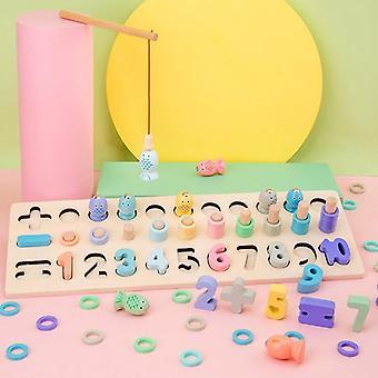 Preschool houten speelgoed tellen rekenkunde magnetische visspel baby vroeg onderwijs speelgoed