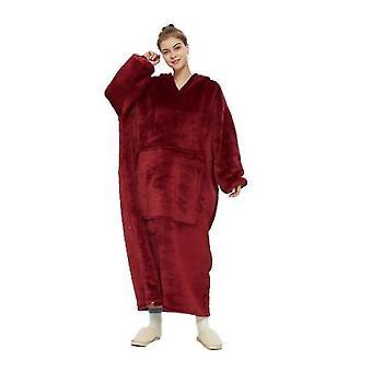 Hooded Blanket Long Robe(Red)