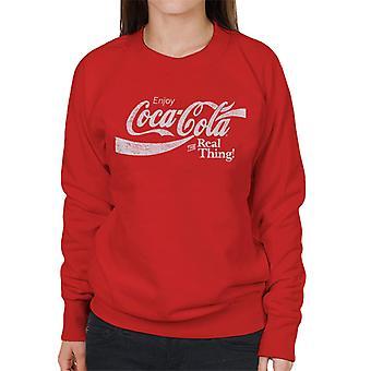 Coca Cola The Real Thing Hvid Tekst Kvinders Sweatshirt