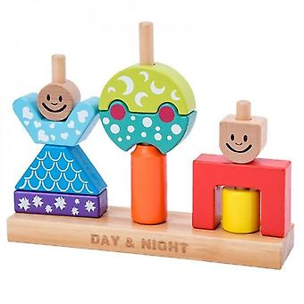 Wooden Stacking Block Interactive Toy Colorful Stimulation Puzzle Board Creative Sorting Game Plugging Toy Toddler Gift
