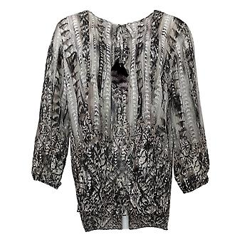 Belle by Kim Gravel Women's Top Printed Pintuck with Tassels Gray A377270