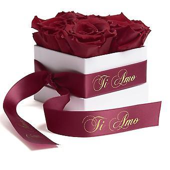 Blumen Box Wei� ewige Rosen haltbar 3 Jahre Dunkelrot Ti Amo Geschenk
