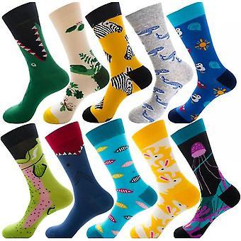 10 párov Ponožky Dovolenka Zimné zábavné slávnostné hromadné balenie, diamantové samčie ponožky Vianočné zvieracie ovocie