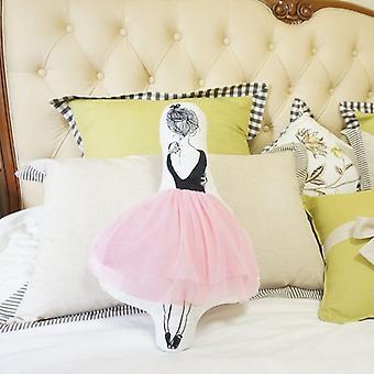 Ballerina girl plush cushion pink gauze plush toy removable and washable doll (53*33cm)