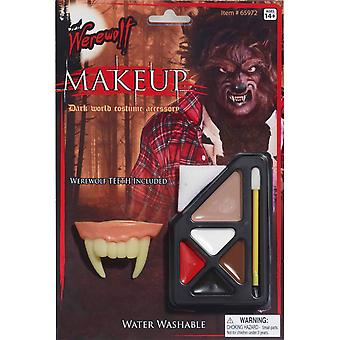 Weerwolf Wolfman Wolf Monster Halloween mannen kostuum make-up & tanden