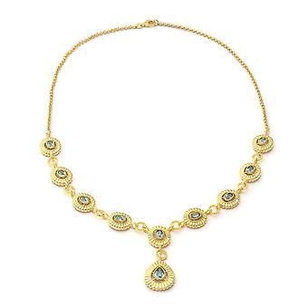 Blue Zircon Collar Necklace Silver 8.45 ct, Sliver Wt. 25 Gms 8.450 Ct.