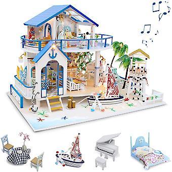 Diy Dollhouse Kit, Casă de păpuși miniaturală din lemn , Blue Sea Legend