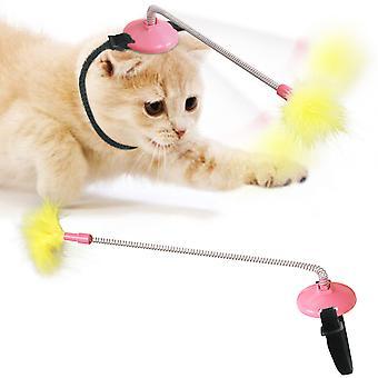 Kočičí límec Samoléčivý krk Toy Spring Foot s kohoutkem na škádlení Cat Stick Pet Supplies Cats Springs Faucet Cat Stick (růžová)