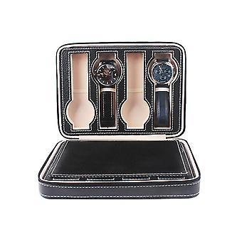 Boîte portable de montre de fente en cuir de pu