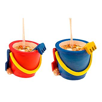 Beachcombers Blue and Red Beach Sand Buckets Resin Holiday Ornaments Set of 2