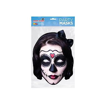 Day of the Dead Black Zombie Female Single 2D Card Party Face Mask