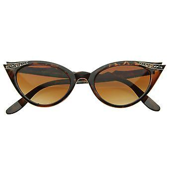 Vintage Inspired Mod Womens Fashion Rhinestone Cat Eye Sunglasses