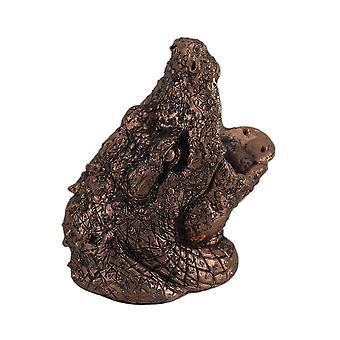 Guzzling Gator kuparin loppuun alligaattori pään viinipullo haltija