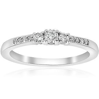 1 / 4ct trois pierres rondes Diamond Engagement Ring 14K White Gold