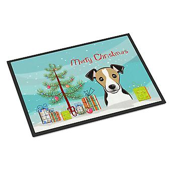 Christmas Tree and Jack Russell Terrier Indoor or Outdoor Mat 18x27