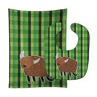 Tesori di Carolines BB6763STBU Bull bavaglino & Burp Cloth