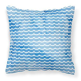 Beach Watercolor Waves Fabric Decorative Pillow