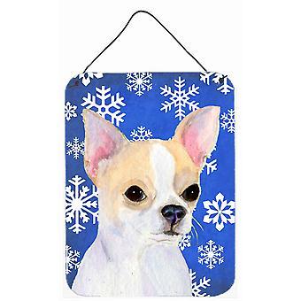 Chihuahua vintern snöflingor Holiday Aluminium metall vägg eller dörr hängande utskrifter