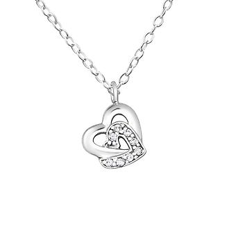Hearts - 925 Sterling Silver Jewelled Necklaces - W19301X