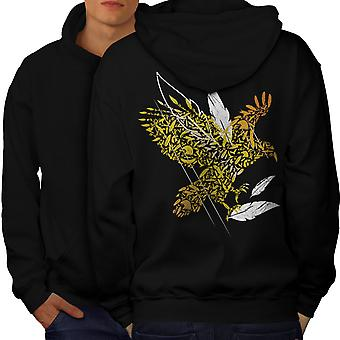 Bird Feather Fly Nature Men BlackHoodie Back | Wellcoda