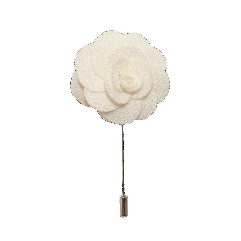 White Handmade Flower/Rose Lapel Pin for wearing with men's suit jacket, blazer, dinner jacket or tuxedo jacket