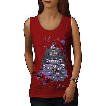 Chaina Art Temple Women RedTank Top | Wellcoda