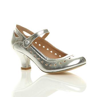 Womens Ajvani milieu chaton talon mary jane sangle travail classique vintage découper des pompes de chaussures Cour cardiaques