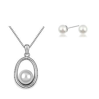 Conjunto de joias de estilo de Womens Pearl pingente de colar e brincos branco pedra de cristal