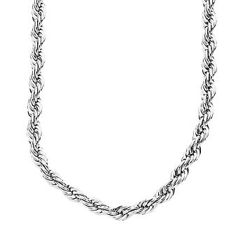 Iced out bling hip hop rope cord chain - 4 mm - silver
