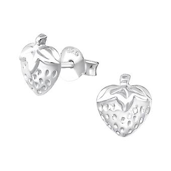 Strawberry - 925 Sterling Silver Plain Ear Studs - W36898x