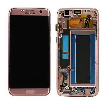 Display de LCD completo conjunto GH97 18533E rosa ouro rosa para edge Samsung Galaxy S7 G935 G935F