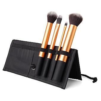 4 Brushes Makeup Set - Synthetic Hair Aluminium Handle Fabric Carry Travel Case - Black