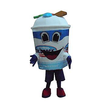 mascot SPOTSOUND giant, blue and white, ice pot with candy