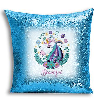i-Tronixs - Unicorn Printed Design Blue Sequin Cushion / Pillow Cover with Inserted Pillow for Home Decor - 13