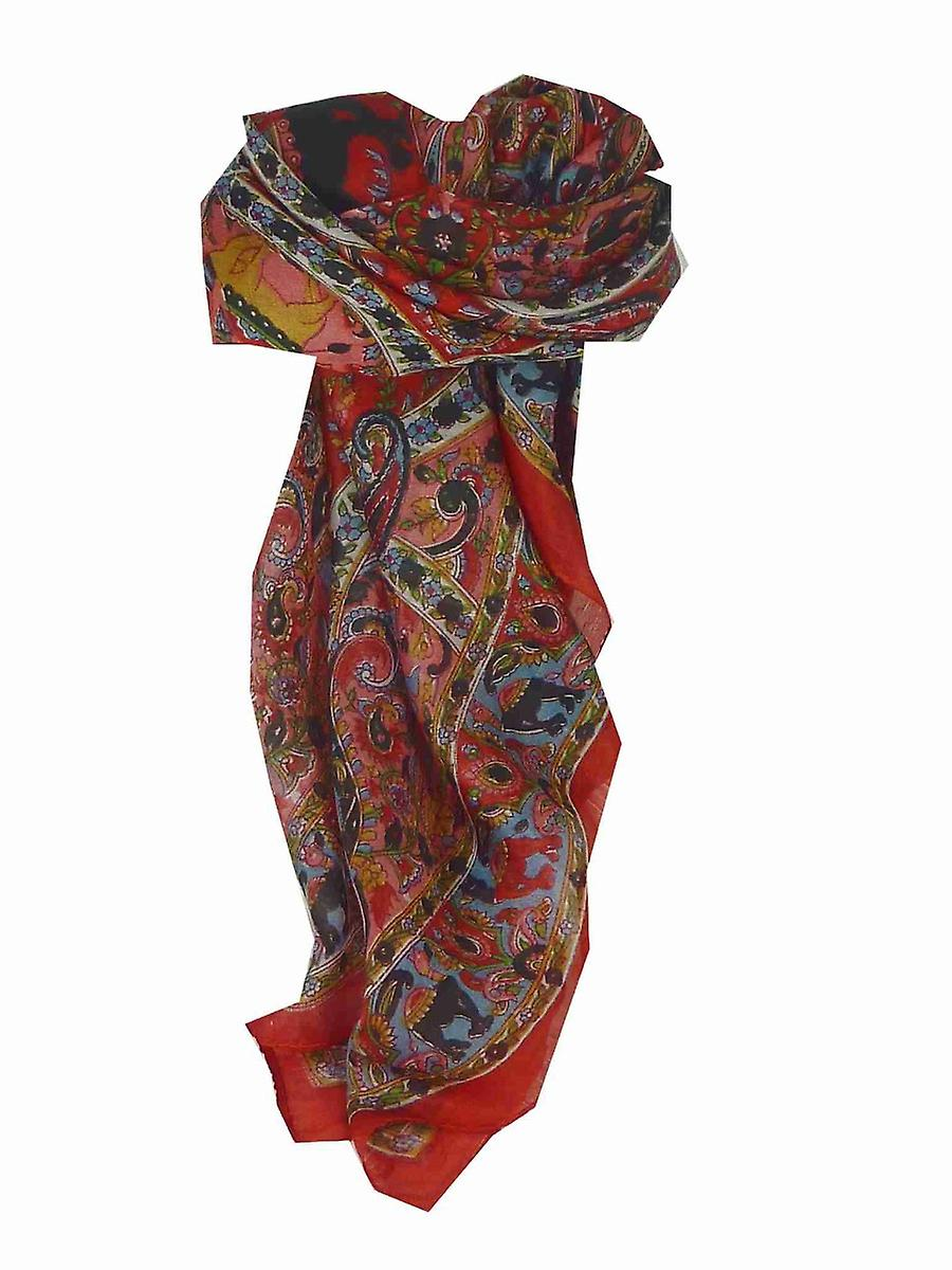 Mulberry Silk Traditional Square Scarf Kaladi Red by Pashmina & Silk