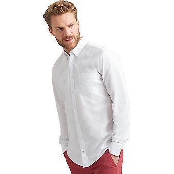 Joules Mens witgewassen knop ingedrukt Oxford Shirt met lange mouwen
