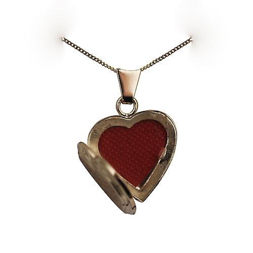 9ct Gold 17x17mm hand engraved flat heart Locket with a curb Chain 20 inches