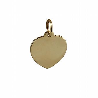9ct الذهب 14x14mm قرص القلب عادي