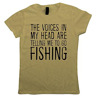 Stimmen in meinem Kopf gehen Angeln, Womens lustige T Shirt - Geschenk Sie